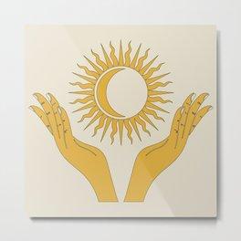 Yellow Hands Sun And Moon Celestial Design Metal Print