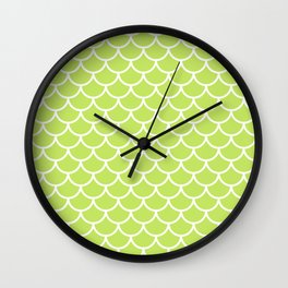 Lime Green fish scales pattern Wall Clock