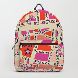 paris map pink Backpack