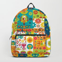 Robot Cheater Quilt Pattern Orange Blue Green Backpack