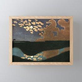 Moonlight reflections coastal landscape painting by Felix Vallotton Framed Mini Art Print