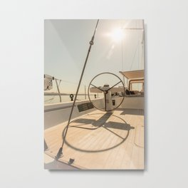On deck of a sailing yacht- Nautical photography  Metal Print