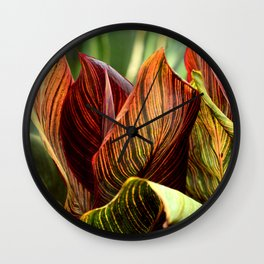 Breathtakingly Exotic Colorful Leaves Exquisite Close-Up Wall Clock