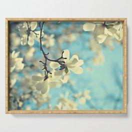 white magnolia Serving Tray
