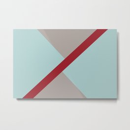 Grey Blue Red Diagonal Stripe Offset Pattern Rustoleum 2021 Color of the Year Satin Paprika & Accent Metal Print