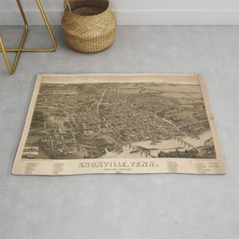 Vintage Print - Bird's Eye View of Knoxville, Tennessee, 1886 Rug