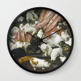 My Wife's Lovers by Carl Kahler 1883 Famous Cat Painting Wall Clock