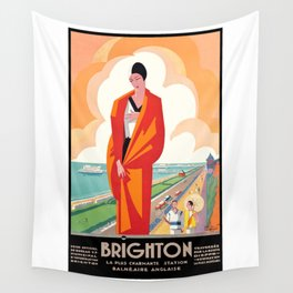 1921 Brighton English Seaside Resort Travel Poster Wall Tapestry