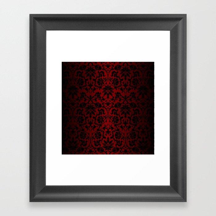 Dark Red and Black Damask Gerahmter Kunstdruck