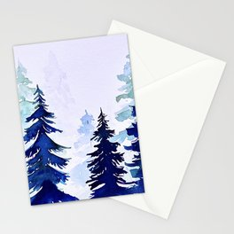 Woodland trees, Christmas art Stationery Cards