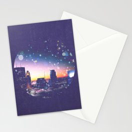 Minneapolis Minnesota Surreal Skyline in the Clouds Stationery Cards