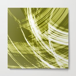 Reflective fibers of metallic yellow stripes with bright glow elements.  Metal Print