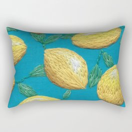 Hand embroidered lemons pattern on turquoise Rectangular Pillow