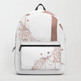Letter K Rose Gold Pink Initial Monogram Backpack