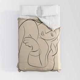 Matisse sleeping lady beige line art, minimalist art print  Comforters