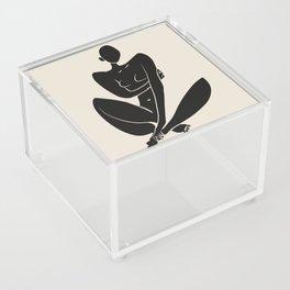 Sitting nude in black Acrylic Box