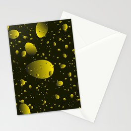 Large yellow drops and petals on a dark background in nacre. Stationery Cards