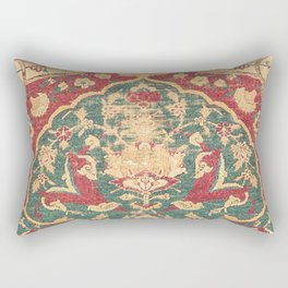 Peonies Kashan II // 16th Century Distressed Colorful Red Tan Light Blue Ornate Accent Rug Pattern Rectangular Pillow