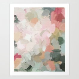 Forest Green Fuchsia Blush Pink Abstract Flower Spring Painting Art Kunstdrucke