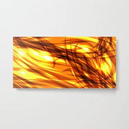Saturated gold and smooth sparkling lines of metal ribbons on the theme of space and abstraction. Metal Print
