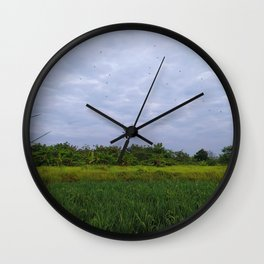 Hanging Spider over the field Wall Clock