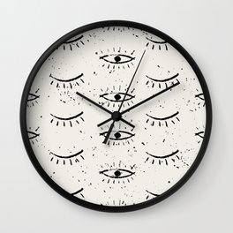 The eyes pattern. Open eyed close eyes, vintage hand drawn illustration pattern Wall Clock
