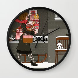 Lily carries Christmas Presents to a Party Wall Clock