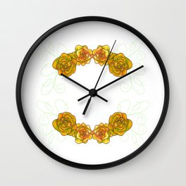 Roses are Yellow - clear background Wall Clock