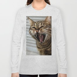 Tabby Cat Yawn Artistic Portrait Long Sleeve T-shirt