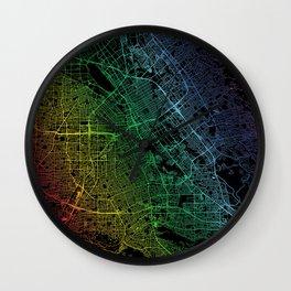 San Jose, USA, City, Map, Rainbow, Map, Art, Print Wall Clock