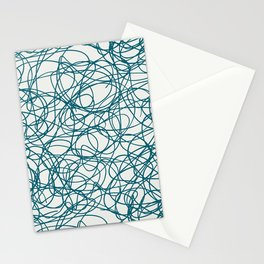 Tropical Dark Teal Abstract Thick Scribble Mosaic Pattern Inspired by Sherwin Williams 2020 Trending Color Oceanside SW6496 on Off White Stationery Cards