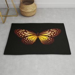 Butterfly - Yellow Brown & Black - Back Lit Glow Rug