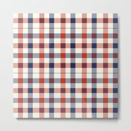 Plaid Red White And Blue Lumberjack Flannel Design Metal Print