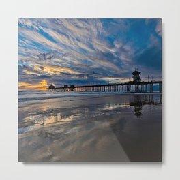 HB Sunsets  1/6/16   /  Sunset At The Huntington Beach Pier Metal Print