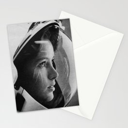 NASA Astronaut, Anna Fisher, black and white photograph Stationery Cards
