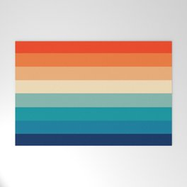 Retro Nostalgia 70s color stripes Welcome Mat