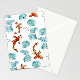 Waterlily koi Stationery Cards