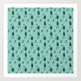 country blue flowers pattern Art Print