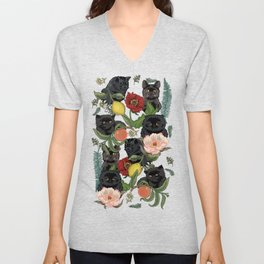 Botanical and Black Cats Unisex V-Neck