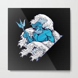 Poseidon greek god of the oceans in waves Metal Print