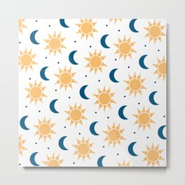 Sun & Moon Pattern - White Metal Print