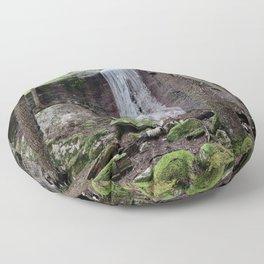 Frozen waterfall and mossy stones Floor Pillow