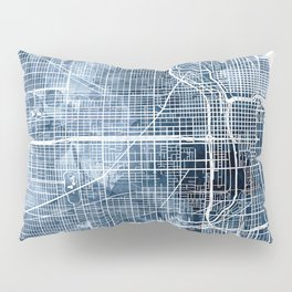 Chicago Map Blue Watercolor by Zouzounio Art Pillow Sham