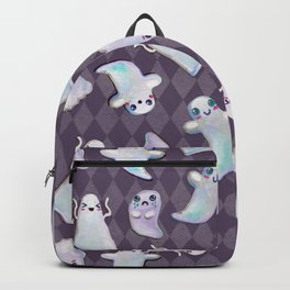 Hand Painted Halloween Kawaii Ghost Pattern On Violet Backpack
