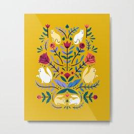 Folk Cats - Yellow Metal Print
