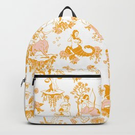 Astrology-Inspired Zodiac Gold Toile Pattern Backpack
