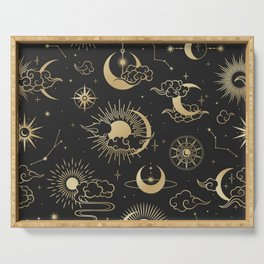 asian seamless pattern with clouds moon sun stars vector collection oriental chinese japanese korean Serving Tray