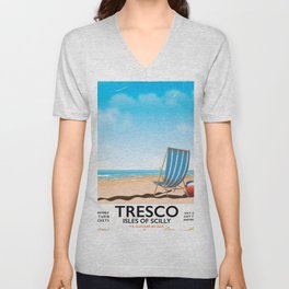 Tresco Isles of Scilly vintage train poster Unisex V-Neck