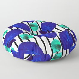 Blue Leaves + Aqua Poppies Floor Pillow