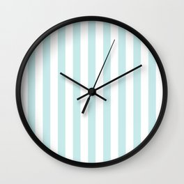 Duck Egg Pale Aqua Blue and White Wide Vertical Beach Hut Stripe Wall Clock